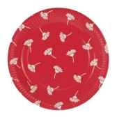 assiettes carton invitation rond o 26 cm rouge flowers papstar 11814