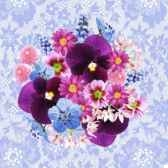 serviettes 3 plis pliage 1 4 33 cm x 33 cm flower bouquet papstar 81532