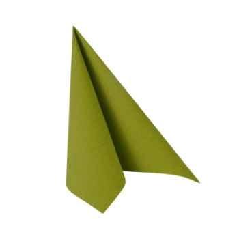 """Serviettes """"royal collection"""" pliage 1/4 33 cm x 33 cm vert olive papstar -81665"""
