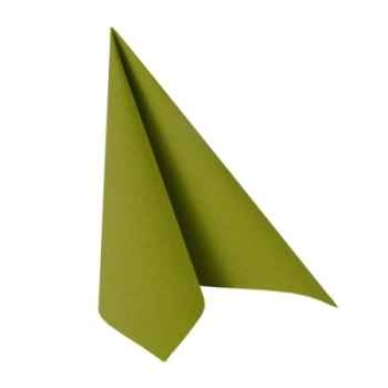 "Serviettes ""royal collection"" pliage 1/4 40 cm x 40 cm vert olive papstar -81661"