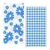 serviettes 2 plis pliage 1 8 33 cm x 33 cm bleu vichy flowers papstar 10281