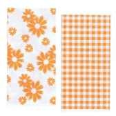 serviettes 2 plis pliage 1 8 33 cm x 33 cm orange vichy flowers papstar 10280