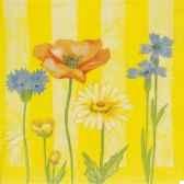 serviettes 3 plis pliage 1 4 33 cm x 33 cm serie sur les fleurs papstar 17292