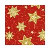 serviettes 3 plis pliage 1 4 25 cm x 25 cm rouge just stars papstar 16501
