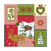 serviettes 3 plis pliage 1 4 25 cm x 25 cm rouge winter time papstar 81803