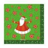 serviettes 3 plis pliage 1 4 25 cm x 25 cm santa s stars papstar 81805