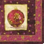 serviettes 3 plis pliage 1 4 33 cm x 33 cm bordeaux bauble papstar 81111