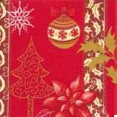 serviettes 3 plis pliage 1 4 33 cm x 33 cm bordeaux jingle bells papstar 11395