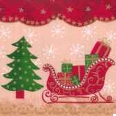serviettes 3 plis pliage 1 4 33 cm x 33 cm christmas delivery papstar 11237