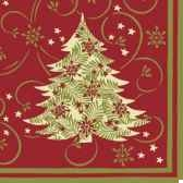 serviettes 3 plis pliage 1 4 33 cm x 33 cm elegant tree papstar 81620