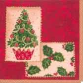 serviettes 3 plis pliage 1 4 33 cm x 33 cm festive collage papstar 11236