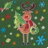serviettes 3 plis pliage 1 4 33 cm x 33 cm funny moose papstar 10682