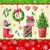 serviettes 3 plis pliage 1 4 33 cm x 33 cm pretty x mas papstar 10439
