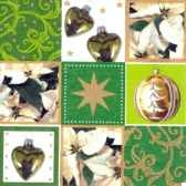 serviettes 3 plis pliage 1 4 33 cm x 33 cm vert x mas chess papstar 11332