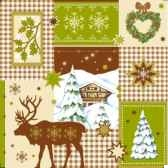 serviettes 3 plis pliage 1 4 33 cm x 33 cm winter time papstar 81622