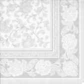 serviettes royacollection pliage 1 4 40 cm x 40 cm blanc ornaments papstar 11682
