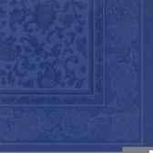 serviettes royacollection pliage 1 4 40 cm x 40 cm bleu fonce ornaments papstar 17051
