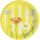 assiettes carton rond o 23 cm serie sur les fleurs papstar 11873