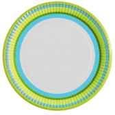 assiettes carton rond o 23 cm bleu vert vichy flowers papstar 10291