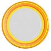 assiettes carton rond o 23 cm jaune orange vichy flowers papstar 10290
