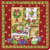 serviettes 3 plis pliage 1 4 33 cm x 33 cm christmas at home papstar 81625