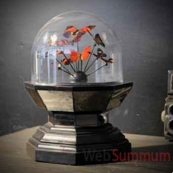 Globe de papillons rouges Objet de Curiosité -IN050