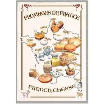 Torchon imprimé fromages de France -1065