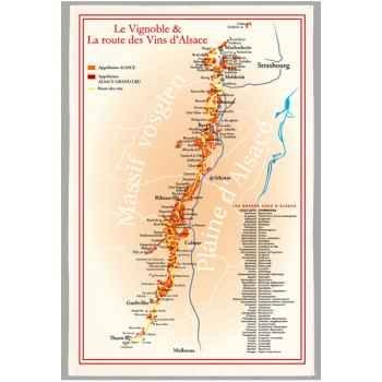 Torchon imprimé route des vins d\'Alsace -1184
