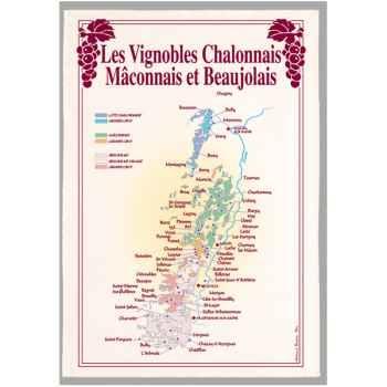 Torchon imprimé vignoble Chalonnais Mâcoonais et Beaujolais -1115
