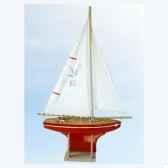 voilier en bois rouge quille carree 35 cm tirot