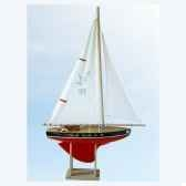 voilier en bois rouge quille ronde 2 voiles 35 cm tirot