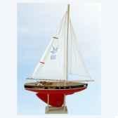 voilier en bois rouge quille ronde 2 voiles 40 cm tirot