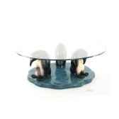 table basse le trio de pingouins en resineux verre trempe bord poli 90 cm lasterne mpi085 90