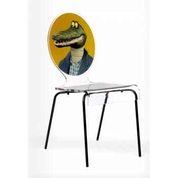 Chaise graph crocodile pieds métalliques Acrila -Acrila126