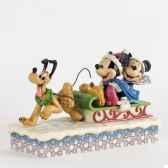 dashing through the snow mickey minnie pluto figurines disney collection 4033264