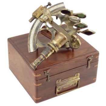 Coffret bois avec sextant Produits marins Web Summum -web0120