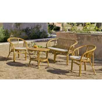Ensemble salon en rotin nilfisk 1 sofa 2 fauteuils 1 table Exklusive hevea -10080-8430108