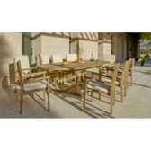 ensemble amberes teck 1 table extensible 180 300 8 fauteuils coussins raye marron exklusive hevea 10083 8430501