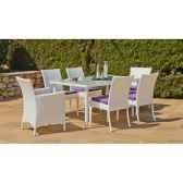 ensemble villalba 150 1 table 4 chaises 2 fauteuils coussins rayes marron exklusive hevea 10109 8430424