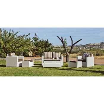 Ensemble salon de jardin tuscan 9 coussin rayé marron : 1 canapé 2pl + 2 fauteuils + 1 table basse + 2 poufs Exklusive hevea -10