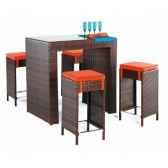 ensemble table bar delphin et 4 tabourets coussin raye marron exklusive hevea 10134 8430424