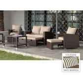 ensemble salon de jardin vanila avec repose pieds 1 canape 2p2 fauteuils 1 table basse coussin raye marron exklusive hev