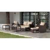 ensemble salon de jardin vanila avec repose pieds 1 canape 2p2 fauteuils 1 table basse coussin raye beige exklusive heve