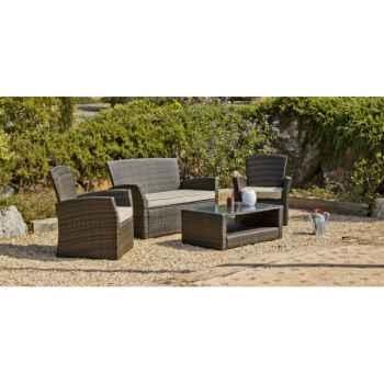 Ensemble salon de jardin alpes ecru : 1 canapé 2pl + 2 fauteuils + 1 table basse coussins ecru Exklusive hevea -10141-3663141