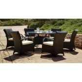 ensemble table ronde oregon et 6 fauteuils coussin ecru exklusive hevea 10148 8430514