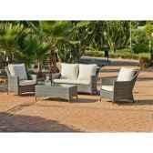 ensemble salon de jardin timur 1 canape 2p2 fauteuils 1 table basse coussin raye gris exklusive hevea 10150 3663141