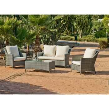 Ensemble salon de jardin timur : 1 canapé 2pl + 2 fauteuils + 1 table basse coussin raye gris Exklusive hevea -10150-3663141