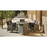 ensemble table maracaibo 150 et 6 fauteuils coussin gris exklusive hevea 10151 8430514