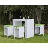 ensemble table bar menorca et 4 tabourets coussin pistache exklusive hevea 11183 3663141