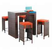 ensemble table bar delphin et 4 tabourets coussin orange exklusive hevea 11184 3663141